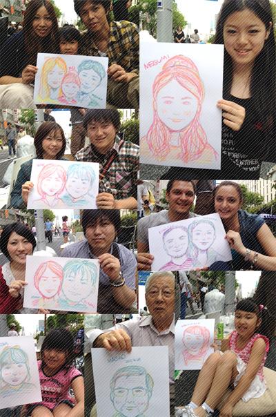 似顔絵を描かせてもらった人たち、ありがとうございました!!