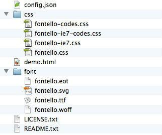fontelloダウンロードファイルの構成