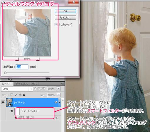 スマートフィルターーの下のフィルターをダブルクリックすればフィルターのダイアログが開いて、何度でも調整可能です。