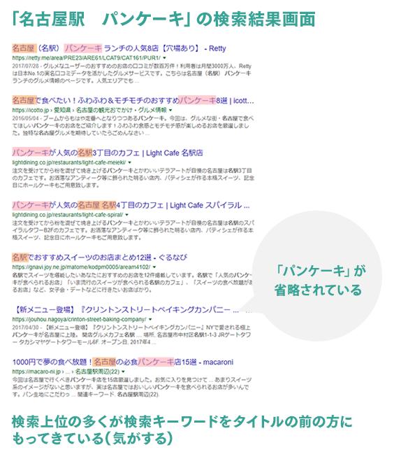 パンケーキ 名古屋駅 で検索した時の検索結果